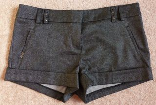 RIVER ISLAND GREY GLITTER SPARKLY HOT PANTS FORMAL SHORTS 10 S