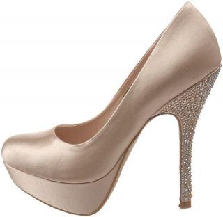 Shoes Steve Madden PARTYY Platform Pumps Heels Satin Champagne Sparkle
