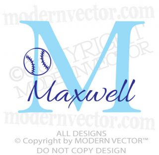 MONOGRAM Personalized Name Vinyl Wall Decal Sticker Boys Nursery WITH