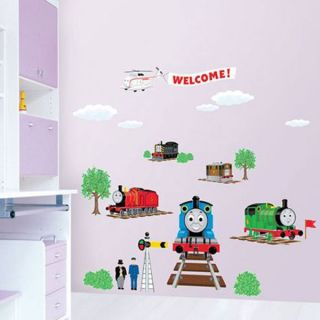 TRAIN TANK ENGINE DIY WALL STICKER KIDS ROOM NURSERY DECOR PAPER ART