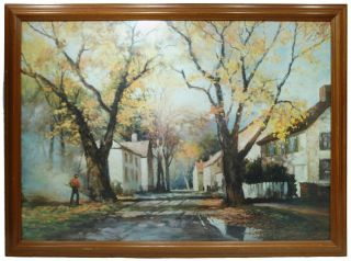 PAINTING Litho PRINT Signed ROBERT WOOD 53 Large HEAVY Huge FRAME
