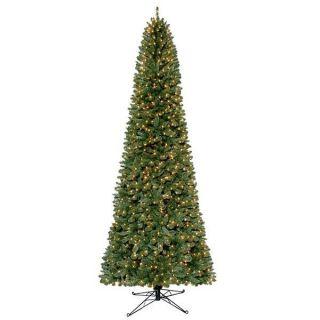 12 Grand Slim Fir Christmas Tree Prelit w/1300 Clear Lights & Storage