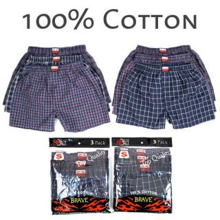 Mens Plaid Boxer Shorts 100% Cotton Underwear Lot Pack Small Medium