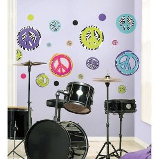 PRINT PEACE SIGNS & POLKA DOTS WALL DECALS Girls Modern Black Decor