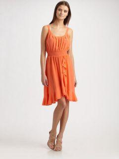 NWOT $295 Rebecca Taylor silk Ruffle Cami Dress `Coral` Size 8