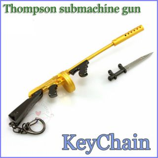 Thompson Submachinegun Tommy Gun Trenches broom Keychain ring toy New