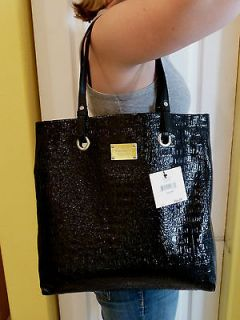 NINE WEST PURSE NEW!! CROC PATTERN BLACK BAG PVC LEATHER NWT!! PD $84