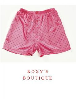 Pink Red Polka Dots Charmeuse Boxer Shorts S M L or XL
