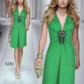 Ornamental V neck Green Exquisite Flirty Short Cocktail Dress 03280 AU
