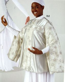 NWT Praisewear Tunic Liturgical Church Dance White Silver cross Top