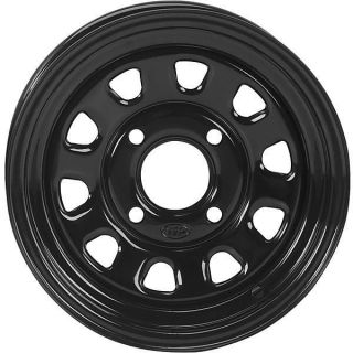 4x4 Front & Rear 12 Inch Gloss Black ITP Delta Steel ATV Wheels