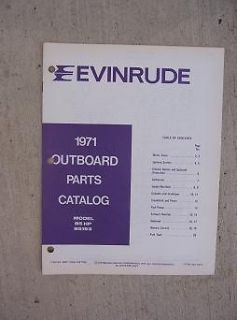 1971 Evinrude Outboard Motor Parts Catalog 85 HP Model 85193 Boat