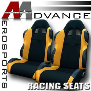 JDM Black/Yellow Fabric & PVC Leather Racing Bucket Seats+Sliders 19