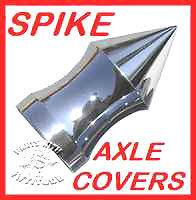CHROME SPIKE FRONT AXLE NUT COVERS for HARLEY