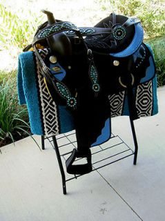14 WESTERN CORDURA TRAIL BARREL PLEASURE SADDLE BLUE STAR ALL TACK
