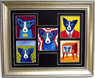 GEORGE RODRIGUE BLUE DOG NOTE CARD COLLAGE   FRAMED   17 x 14