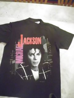 Vintage Michael Jackson Bad Tour 88 Black T shirt Size M Front & Back