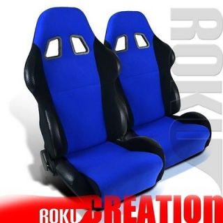 PAIR JDM STYLE BLUE & BLACK RECLINABLE RACING SEAT w/ SLIDER (Fits