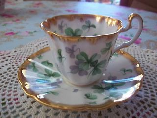 Adderley Fine Bone China Flying Shamrocks with Gold Tea Cup and Saucer