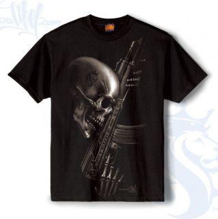 Mens Deathwish Shirt Skeleton Skull Machine Gun OG Abel L XXXL New