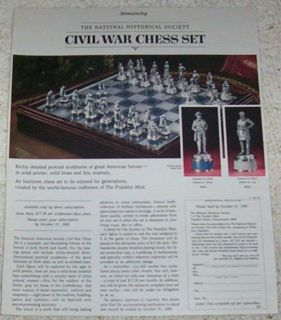 ad page   Civil War figures Chess set Game PAPER Advertising ADVERT