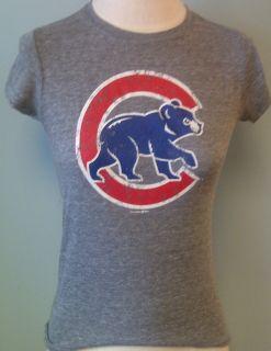 Chicago Cubs Ladies Crew Neck Grey Tri Blend Cap Sleeve T Shirt