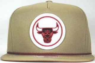 Chicago Bulls NBA Cotton Khaki Snapback Hat MItchell & Ness Authentic