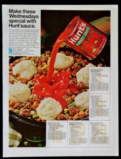 Vintage 1967 Hunts Tomato Sauce Magazine Ad Make Wednesdays Special