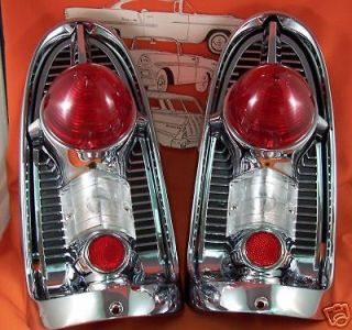 1956 Chevy Taillight Housings Chrome Belair Sedan Hardtop Wagon Made