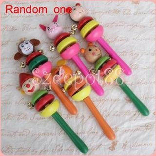 Face Wooden Jingle Hand Bells Toy for Baby Kids Musical Instrument