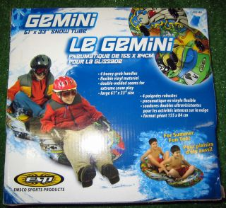 Gemini 61 Large Double Snow Tube Tubes Sled Winter Inflatable Two