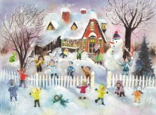 Children Snowball Fight German Christmas Advent Calendar