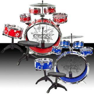 Toy Drum Set Red & Blue Musical Instrument Music Band Child Kid