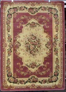Rose pink ivory beige 5x7 Floral Victorian area rug carpet 2857