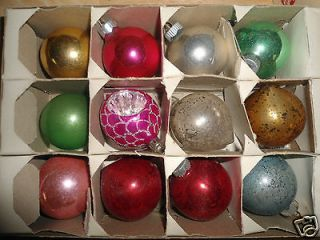 12 Vintage Glass Christmas Ornaments   SHINY BRIGHT   Box #1