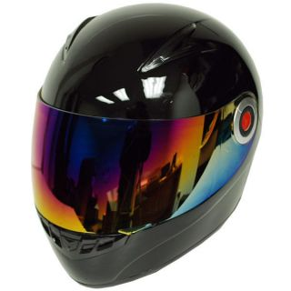 New Youth Kids Motorcycle Full Face Helmet Glossy Solid Black Size S M