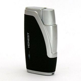 Honest Double torch flame cigar lighter with cigar punch Black