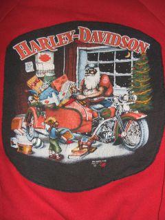 Vintage 1980s 3D EMBLEM Christmas Santa Harley Davidson Shirt