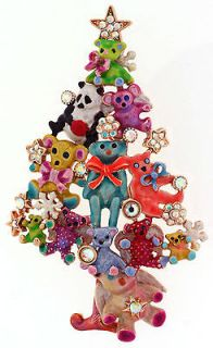 KIRKS FOLLY TEDDY BEAR ANGEL CHRISTMAS TREE PIN PENDANT ENHANCER