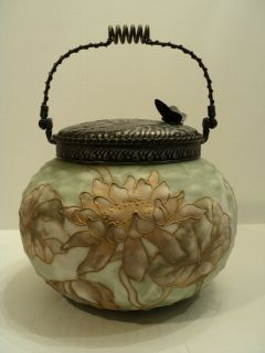 RARE MT. WASHINGTON CROWN MILANO ART GLASS CRACKER JAR / BISCUIT