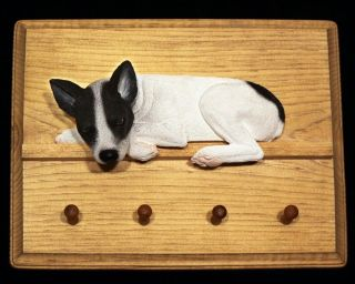 black/white dog figurine key ring/leash holder hanger wood Plaque