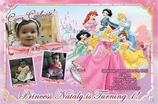 Princess snow white, cinderella, bella photo birthday party invitation