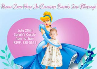 CINDERELLA DISNEY PRINCESS BIRTHDAY PARTY INVITATIONS