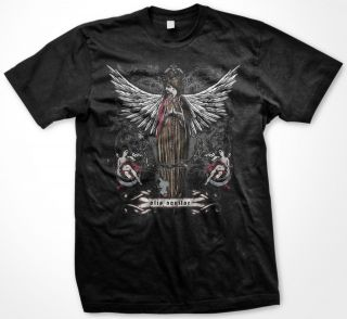 Holy Angel With Angelic Wings Saints Mens T shirt Religion Roses Crest