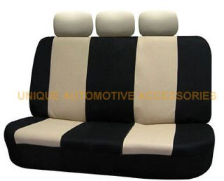 BUICK SUBARU 5PC BEIGE & BLACK POLYESTER CLOTH AUTO FRONT REAR BENCH