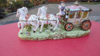 Vintage Capodimonte Porcelain Ceramic Cinderella Horse Drawn Coach