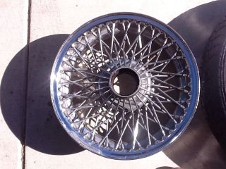 Three MGB 14 inch Heavy Duty 72 Spoke Chrome Wire Wheels