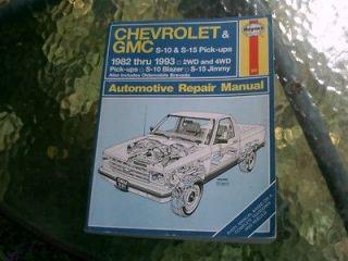 Haynes Repair Manual Chevrolet & GMC S 10 Blazer & S 15 Gimmy Pick ups
