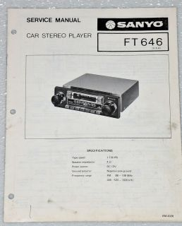 SANYO FT646 CAR STEREO CASSETTE PLAYER Original Service Manual & Parts