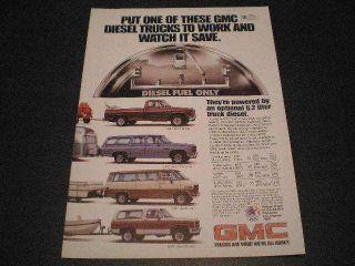 1982 GMC Trucks Ad Diesel Pickup Suburban Van Jimmy